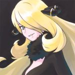 1girl black_background black_dress blonde_hair character_request commentary_request creatures_(company) dress fur_collar game_freak green_eyes grin hair_ornament hair_over_one_eye looking_at_viewer nintendo one_eye_covered pokemon reiesu_(reis) simple_background smile solo upper_body