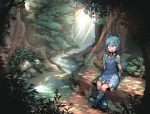 1girl blue_eyes blue_footwear blue_hair boots bow cirno dress forest gloves hair_bow highres looking_to_the_side nature outdoors pigeoncrow sunlight touhou tree wings