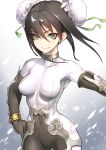 1girl bodysuit breasts brown_hair bun_cover closed_mouth covered_navel cowboy_shot double_bun eyebrows_visible_through_hair eyeliner fate/grand_order fate_(series) green_eyes hair_between_eyes hand_on_hip highres looking_at_viewer makeup medium_breasts ninnin_(shishitou) qin_liangyu_(fate) short_hair sidelocks simple_background smile solo vambraces