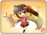 1girl artist_name brown_eyes brown_hair brown_skirt chibi commentary_request flight_deck full_body gradient gradient_background japanese_clothes kantai_collection kariginu looking_at_viewer magatama pleated_skirt pose red_skirt ryuujou_(kantai_collection) scroll shikigami skirt solo standing standing_on_one_leg taisa_(kari) twintails visor_cap yellow_background