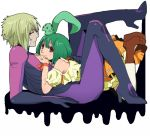 1boy 1girl ai-kun brera_sterne brother_and_sister cero_(cerocero) detached_sleeves frown green_hair hand_on_another's_back hands_on_another's_chest hetero high_heels interlocked_fingers looking_at_viewer lying_on_person macross macross_frontier ranka_lee red_eyes short_hair siblings skin_tight smile