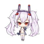 1girl animal_ears azur_lane bangs bare_shoulders belt belt_buckle big_head bikini_top black_footwear black_gloves black_hairband blush buckle cannon chibi closed_mouth elbow_gloves eyebrows_visible_through_hair gloves hair_between_eyes hair_ornament hairband highres holding jacket laffey_(azur_lane) limitlimlim looking_at_viewer open_clothes open_jacket pleated_skirt rabbit_ears red_eyes remodel_(azur_lane) sidelocks silver_hair simple_background skirt sleeveless_jacket smile solo standing thigh-highs turret twintails white_background white_bikini_top white_jacket white_legwear white_skirt yellow_belt