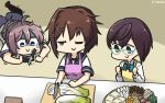 3girls aoba_(kantai_collection) apron black_legwear blue-framed_eyewear blue_eyes brown_hair camera chopping commentary_request counter cutting_board dated dress food furutaka_(kantai_collection) green_eyes hair_ornament hairclip hamu_koutarou highres kantai_collection knife lying messy_hair multiple_girls mushroom okinami_(kantai_collection) on_stomach one_eye_closed pink_apron ponytail purple_hair purple_shorts school_uniform scrunchie serafuku shaded_face shirt short_hair shorts sleeveless sleeveless_dress standing thigh-highs tofu tray white_shirt yellow_apron