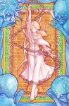 1girl absurdres arm_up art_nouveau barefoot bloodborne brick_wall brown_hair capelet cloak closed_eyes crossed_legs flower full_body gloves grass gride highres holding holding_cane holding_weapon iosefka jacket legs_crossed long_hair ponytail sigil skirt small_celestial_emissary threaded_cane traditional_media watercolor_(medium) watson_cross weapon white_gloves