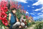 2girls 3boys armor beard black_hair blue_sky chinese_clothes drinking en_(kingdom) facial_hair flower grass helmet hoe hollyhock indian_style karyou_ten kingdom kyoukai_(kingdom) long_hair multiple_boys multiple_girls on_ground open_mouth outdoors plant sandals shin_(kingdom) shiso_(nununu3) short_hair sitting sky sleeveless sosui_(kingdom) sweat wristband