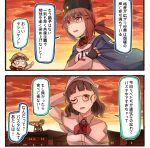 2girls 2koma arm_up black_bow black_gloves black_hat blue_shawl blush_stickers bow brown_eyes brown_hair comic commentary_request eyebrows_visible_through_hair fingerless_gloves glasses gloves hair_between_eyes hair_bow hair_ornament hairclip hat ido_(teketeke) jacket kantai_collection long_hair long_sleeves multiple_girls one_eye_closed open_mouth papakha pince-nez red_shirt roma_(kantai_collection) scarf shaded_face shawl shirt short_hair speech_bubble tashkent_(kantai_collection) translation_request untucked_shirt white_jacket white_scarf