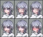 1girl :d :o ;q blush burn_scar chart closed_eyes dorei_to_no_seikatsu_~teaching_feeling~ expressions eyebrows_visible_through_hair face grey_background grey_hair hair_ornament hair_ribbon hairclip hat heart heart-shaped_pupils highres long_hair looking_at_viewer multiple_views nose_blush nurse nurse_cap official_art older one_eye_closed open_mouth ponytail ray-k ribbon scar simple_background smile sweatdrop sylvie_(dorei_to_no_seikatsu) symbol-shaped_pupils tongue tongue_out violet_eyes white_ribbon