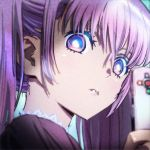 1girl bangs blue_eyes blurry blurry_foreground controller copyright_name copyright_request depth_of_field dress from_side highres holding looking_at_viewer looking_to_the_side multicolored multicolored_eyes nazoani_museum portrait purple_dress purple_hair remote_control solo twintails violet_eyes wide-eyed