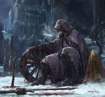 1boy blood blood_on_snow bloodborne bloody_weapon blurry boots breath building cloak cold cone courtyard depth_of_field dragonizm full_body hidden_face icicle ivy night signature sitting snow solo statue sword weapon wheel