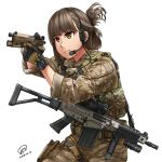 1girl aiming assault_rifle brown_hair camouflage commentary gloves gun handgun headset highres holding holding_gun holding_weapon holster jpc load_bearing_vest military original pistol rifle solo watch watch weapon weapon_request white_background yellow_eyes