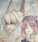 1boy 1girl :d asterios_(fate/grand_order) black_flower black_rose black_sclera blue_sky blush choker earrings euryale eyebrows_visible_through_hair fate/grand_order fate_(series) flower grey_hair hair_between_eyes highres holding holding_flower horns jewelry long_hair necklace one_eye_closed open_mouth orange_eyes photo purple_hair red_eyes rose sky smile tanaji traditional_media