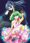 1boy 1girl bare_shoulders belt_boots blue_hair boots dress floating_hair green_hair hair_between_eyes jewelry kitou_en long_hair looking_at_viewer macross macross_frontier necklace outstretched_arm pink_dress pink_footwear ponytail ranka_lee red_eyes saotome_alto short_hair sleeveless sleeveless_dress smile strapless strapless_dress