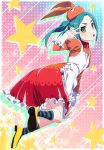 1girl :o animal_hat apron aqua_hair dress floating_hair frilled_apron frilled_dress frills full_body green_eyes hat head_tilt highres long_hair looking_at_viewer monogatari_(series) ononoki_yotsugi orange_dress orange_hat pink_x red_dress solo striped striped_legwear tsukimonogatari twintails two-tone_dress two-tone_legwear w_over_eye white_apron yellow_footwear