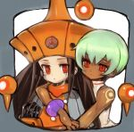 aqua_hair arm_around_shoulder bare_arms bare_shoulders black_hair bracelet character_request crying crying_with_eyes_open dakusuta dark_skin green_hair hat highres hug hug_from_behind jewelry light_smile long_hair outside_border red_eyes rockman rockman_dash sera_(rockman_dash) short_hair tears