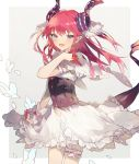absurdres asymmetrical_horns blue_eyes corset curled_horns dragon_girl dragon_horns dragon_tail elizabeth_bathory_(fate) elizabeth_bathory_(fate)_(all) fate/extra fate/extra_ccc fate_(series) highres horns long_hair pink_hair pointy_ears socha_(sotyahamu) tail