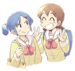 2girls ^_^ aioi_yuuko backpack bag blue_eyes blue_hair blush brown_hair closed_eyes closed_eyes closed_mouth double_v eyebrows_visible_through_hair facing_another grin looking_at_another multiple_girls naganohara_mio nichijou parted_lips school_uniform short_hair short_twintails smile teeth tsubobot twintails v