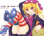 1girl alternate_costume alternate_hairstyle american_flag american_flag_legwear american_flag_print black_skirt blazer blonde_hair blue_footwear bow bowtie character_name clownpiece commentary_request earrings fairy_wings feet flag_print hair_between_eyes hat highres jacket jester_cap jewelry legs_crossed long_hair long_sleeves lying miniskirt moon open_mouth ougi_hina panties pantyshot pantyshot_(lying) pink_eyes pleated_skirt polka_dot shoes simple_background single_shoe skirt smile solo star star_earrings star_print striped thigh-highs touhou transparent_wings twintails twitter_username underwear white_background white_panties wings