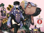 1girl black_footwear black_gloves black_legwear blue_eyes blue_hair boots breasts dress fur_hat gloves hat highres long_hair looking_at_viewer mc-4 mecha original purple_dress robot short_dress smile solo thigh-highs thigh_boots very_long_hair zettai_ryouiki