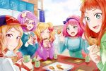 5girls :d absurdres aikatsu!_(series) aikatsu_stars! aqua_eyes arms_up baseball_cap blonde_hair blouse blue_blouse blue_dress blue_eyes blue_sky bow closed_eyes clouds cup day dress eating elbows_on_table fang flower food glasses hair_bow hair_flower hair_ornament hairband hat highres holding holding_cup holding_food index_finger_raised kasumi_mahiru lavender_hair long_sleeves looking_at_viewer looking_to_the_side multiple_girls nanakura_koharu nijino_yume oka_paya open_mouth outdoors pinafore_dress pink_hair placemat purple_shirt red-framed_eyewear redhead sakuraba_rola saotome_ako semi-rimless_eyewear shirt short_hair sitting sky smile storefront table taiyaki tray two_side_up under-rim_eyewear upper_body violet_eyes wagashi yellow_eyes
