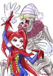 1boy 1girl bodysuit chrono_cross commentary_request facepaint gloves harlequin hat jester_cap leotard red_eyes red_gloves red_leotard s-a-murai skelly smile tsukuyomi_(chrono_cross)