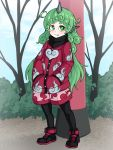1girl :3 adapted_costume animal_ears bangs black_footwear black_legwear bright_pupils cloud_print commentary_request curly_hair day fang_out full_body green_eyes green_hair hands_in_pockets highres horn jacket jakomurashi komano_aun long_hair looking_at_viewer outdoors pantyhose pink_shorts red_jacket shoes short_eyebrows shorts smile solo standing thick_eyebrows touhou tree turtleneck