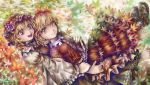 2girls :d aki_minoriko aki_shizuha artist_name autumn_leaves barefoot blonde_hair brown_footwear buttons choker closed_mouth collared_shirt commentary_request cross-laced_footwear fingernails food frilled_sleeves frills fruit grapes hair_ornament hat highres hug hug_from_behind leaf leaf_hair_ornament long_sleeves looking_at_another looking_at_viewer maple_leaf mob_cap multiple_girls nagayo open_mouth red_eyes red_hat red_shirt red_skirt ribbon_choker shirt shoes short_hair siblings sisters skirt skirt_set smile socks toenails toes touhou wide_sleeves