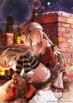 1girl ^_^ bare_shoulders blonde_hair blush boots box breasts chimney cleavage closed_eyes closed_eyes eyebrows_visible_through_hair gift gift_box grin hinomoto_madoka large_breasts long_hair night outdoors sack santa_costume sitting sky smile snowing star_(sky) starry_sky striped striped_legwear thigh-highs twintails very_long_hair wild_arms:_million_memories