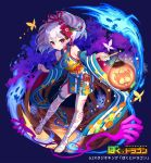 1girl bandage bandaged_leg bandages bare_shoulders blue_background bokutodragon breasts bug butterfly detached_sleeves fantasy floral_print flower full_body ghost hair_flower hair_ornament hair_ribbon hands insect japanese_clothes kimono lantern leg_tattoo looking_at_viewer medium_breasts official_art patori red_ribbon ribbon simple_background solo standing tattoo thigh_strap watermark white_hair wide_sleeves