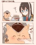 1girl animalization biting black_hair blue_eyes book book_stack collared_shirt colorized comic dog glasses hairband hat itomugi-kun kantai_collection ooyodo_(kantai_collection) pen prinz_eugen_(kantai_collection) semi-rimless_eyewear shirt table under-rim_eyewear