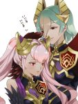 2girls fire_emblem fire_emblem_heroes green_hair horn_ornament laegjarn_(fire_emblem_heroes) laevateinn_(fire_emblem_heroes) multiple_girls nintendo pink_hair red_eyes renkonmatsuri siblings smile twintails