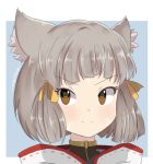1girl animal_ear_fluff bangs blunt_bangs blunt_ends brown_eyes chocomiru commentary english_commentary frown grey_hair looking_at_viewer nintendo niyah outside_border portrait short_hair sketch_eyebrows solo v-shaped_eyebrows xenoblade_(series) xenoblade_2