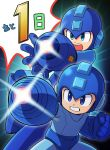 2boys aiming android arm_cannon blue_eyes blue_helmet clenched_hand clenched_teeth commentary_request dual_persona helmet male_focus multiple_boys nintendo official_art open_mouth rockman rockman_(character) rockman_(classic) rockman_11 super_smash_bros. super_smash_bros._ultimate teeth weapon