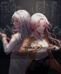 2girls back-to-back blood blood_on_face blood_stain bloody_clothes blouse character_request city city_lights cityscape commentary_request copyright_request dirty_face hair_ribbon jacket katana korean_commentary multiple_girls pink_hair red_eyes ribbon scabbard sheath silence_girl sword violet_eyes weapon white_hair