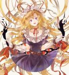 1girl belt blonde_hair bow breasts commentary_request dress elbow_gloves frilled_wrist_cuffs frills gap gloves hat hat_ribbon highres hisona_(suaritesumi) long_hair looking_at_viewer mob_cap open_mouth purple_dress red_bow red_eyes red_neckwear red_ribbon ribbon smile solo touhou very_long_hair violet_eyes wrist_cuffs yakumo_yukari