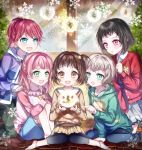 5girls :d :o afterglow_(bang_dream!) alternate_hairstyle aoba_moka aqua_eyes argyle argyle_sweater bang_dream! bangs black_hair blue_eyes blue_jacket blue_shirt blurry blurry_background blush bob_cut brown_eyes brown_hair brown_skirt brown_sweater christmas clenched_hand fang food_print green_eyes green_hoodie green_pants grey_hair grey_skirt hands_on_another's_shoulders hands_on_own_knees hazawa_tsugumi holding hood hood_down hooded_jacket hoodie indoors jacket kneeling knees_together_feet_apart knees_up leggings long_hair mitake_ran multiple_girls nennen one_side_up open_mouth pants pink_hair pointing ponytail print_hoodie raglan_sleeves red_cardigan redhead shirt short_hair sitting skirt smile snow_globe snowflakes sweater udagawa_tomoe uehara_himari violet_eyes window