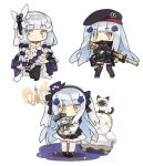 1girl animal armchair assault_rifle bangs bare_shoulders beret black_dress black_footwear black_hairband black_hat black_legwear blush breasts cat chair character_doll cleavage closed_mouth commentary_request dress eyebrows_visible_through_hair facial_mark g11_(girls_frontline) girls_frontline gloves green_eyes gun hair_ornament hairband hat heckler_&_koch hk416 hk416_(girls_frontline) holding holding_gun holding_weapon itsuki_tasuku jacket long_hair long_sleeves looking_at_viewer medium_breasts mini_hat multiple_views object_namesake open_mouth purple_dress purple_jacket ribbed_legwear rifle shirt silver_hair sleeveless sleeveless_dress socks standing strapless strapless_dress thigh-highs tilted_headwear two_side_up very_long_hair wall_lamp weapon white_background white_gloves white_hairband white_shirt