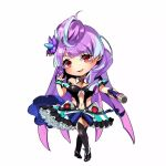 1girl :d black_legwear breasts chibi choker cleavage full_body highlights highres holding holding_microphone long_hair looking_at_viewer macross macross_delta medium_breasts microphone midriff mikumo_guynemer mizukiyan multicolored_hair navel open_mouth purple_hair red_eyes shiny shiny_hair simple_background smile solo standing stomach thigh-highs tied_hair very_long_hair white_background