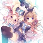 2girls :d animal_ears bangs blue_bow blue_hairband blue_neckwear blue_shirt blue_skirt blush bow braid breasts brown_coat brown_hair brown_legwear cardigan closed_mouth coat commentary_request double_bun eyebrows_visible_through_hair fringe_trim hair_between_eyes hair_bow hair_ornament hairband hand_holding head_tilt interlocked_fingers long_hair long_sleeves looking_at_viewer medium_breasts multiple_girls navel open_cardigan open_clothes open_coat open_mouth original pink_hair plaid plaid_scarf pleated_skirt rabbit_ears red_bow red_eyes red_scarf scarf shirt side_bun skirt sleeves_past_wrists smile snowflake_hair_ornament striped striped_bow thigh-highs very_long_hair yellow_cardigan yukie_(peach_candy)