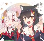 2girls animal_ears bangs bell black_hair blush bone brown_eyes choker claw_pose collarbone commentary detached_sleeves dog_ears eyebrows_visible_through_hair fang hair_between_eyes hair_ornament hairclip highres hololive japanese_clothes kouhaku_nawa long_hair looking_at_viewer multicolored_hair multiple_girls nakiri_ayame nanakagura necktie one_eye_closed oni oni_horns ookami_mio open_mouth paw_pose paw_print red_eyes redhead sailor_collar silver_hair smile streaked_hair virtual_youtuber wolf_ears
