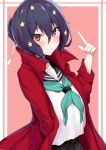absurdres black_hair closed_mouth coat eyebrows_visible_through_hair hair_between_eyes hair_ornament hair_tie highres long_coat looking_at_viewer mizuno_ai nanakaku pointing red_coat red_eyes sailor_collar school_uniform serafuku short_hair smile zombie_land_saga