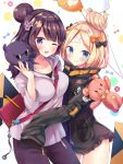 2girls abigail_williams_(fate/grand_order) bag balloon bandaid_on_forehead bangs belt black_bow black_jacket blonde_hair blue_eyes blush bow breasts closed_mouth collarbone crossed_bandaids fate/grand_order fate_(series) forehead hair_bow hair_bun hair_ornament hairpin heroic_spirit_traveling_outfit high_collar highres hips hood hoodie jacket katsushika_hokusai_(fate/grand_order) licking_lips long_hair long_sleeves looking_at_viewer masayo_(gin_no_ame) medium_breasts multiple_girls octopus one_eye_closed orange_bow pants parted_bangs pencil polka_dot polka_dot_bow purple_hair purple_pants short_hair shoulder_bag sleeves_past_fingers sleeves_past_wrists stuffed_animal stuffed_toy teddy_bear thighs tokitarou_(fate/grand_order) tongue tongue_out violet_eyes white_jacket zipper_pull_tab