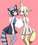 2girls :3 adapted_costume animal_ear_fluff animal_ears bare_arms bare_shoulders blonde_hair blue_hair blush collared_shirt commentary_request common_raccoon_(kemono_friends) cowboy_shot extra_ears eyebrows_visible_through_hair fang fennec_(kemono_friends) fox_ears fox_tail heart high-waist_skirt highres kemono_friends matching_outfit multicolored_hair multiple_girls nail_polish open_mouth petit_ramune raccoon_ears raccoon_tail shirt short_hair skirt sleeveless striped striped_skirt tail thigh-highs zettai_ryouiki