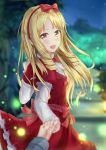 1girl :d blonde_hair blurry blurry_background blurry_foreground bow brown_eyes dress eromanga_sensei eyebrows_visible_through_hair floating_hair hair_bow hairband hand_holding highres long_hair long_sleeves looking_at_viewer muwa12 night open_mouth outdoors pointy_ears red_bow red_dress red_hairband short_over_long_sleeves short_sleeves smile standing yamada_elf