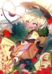 1girl bai_yemeng black_hat blood bow bright_pupils chinese_commentary commentary_request floral_print flower green_eyes green_hair green_skirt hat hat_bow heart heart_of_string highres holding holding_knife knife komeiji_koishi open_mouth petals red_flower red_rose rose rose_petals shirt short_hair simple_background skirt smile solo third_eye touhou white_background wrist_cuffs yellow_bow yellow_shirt