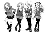 4girls assam bangs boots bow braid closed_mouth commentary cup darjeeling dress_shirt emblem epaulettes eyebrows_visible_through_hair girls_und_panzer hair_bow hair_ornament hair_pulled_back hand_in_hair hand_on_hip head_tilt holding holding_cup holding_weapon jacket light_smile loafers long_hair long_sleeves looking_at_viewer medium_hair military military_uniform miniskirt mituki_(mitukiiro) multiple_girls necktie open_mouth orange_pekoe pantyhose parted_bangs pleated_skirt rosehip school_uniform shirt shoes short_hair skirt smile st._gloriana's_military_uniform st._gloriana's_school_uniform standing standing_on_one_leg sweater teacup tied_hair twin_braids uniform v-neck weapon wing_collar