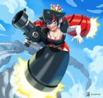 1girl bags_under_eyes black_dress black_eyes black_hair breasts bullet_bill cleavage commentary crown dress elbow_gloves english_commentary eyelashes flying full_body gloves holding holding_weapon huge_weapon long_hair low_twintails mario_(series) medium_breasts multicolored_hair new_super_mario_bros._u_deluxe nintendo no_feet no_legs redhead rocket_launcher sharp_nails sharp_teeth simon_stafsnes_andersen solo super_crown super_mario_bros. teeth twintails two-tone_hair weapon white_gloves