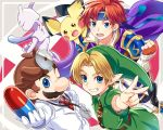 armor blonde_hair blue_eyes blush cape creatures_(company) dr.mario dress fire_emblem fire_emblem:_fuuin_no_tsurugi game_freak gen_1_pokemon gen_2_pokemon gloves headband jewelry legendary_pokemon link looking_at_viewer male_focus mario mewtwo multiple_boys nintendo open_mouth pichu pointy_ears pokemon redhead roy_(fire_emblem) short_hair simple_background smile super_smash_bros. super_smash_bros._ultimate the_legend_of_zelda the_legend_of_zelda:_majora's_mask the_legend_of_zelda:_ocarina_of_time tunic weapon young_link young_zelda yuki_(yuki2061)