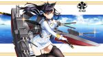1girl absurdres animal_ears atago_(azur_lane) azur_lane black_hair breasts commentary_request highres kagiyama_(gen'ei_no_hasha) katana long_hair machinery military military_uniform orange_eyes solo sword thigh-highs uniform weapon