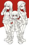 3girls angry bangs boots clara_(girls_und_panzer) closed_mouth commentary emblem fang frown girls_und_panzer hand_in_hair hands_on_hips hands_together jacket jumpsuit katyusha long_hair long_sleeves looking_at_viewer military military_uniform miniskirt mituki_(mitukiiro) monochrome multiple_girls nonna open_mouth pleated_skirt pravda_military_uniform red shirt short_hair short_jumpsuit skirt smile standing swept_bangs turtleneck uniform v-shaped_eyebrows vest zipper