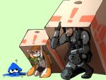 1boy 1girl bandanna bike_shorts blue_eyes box brown_hair cardboard_box domino_mask facial_hair fangs gloves gun headband inkling long_hair mask metal_gear_(series) mustache nintendo pointy_ears shiyokara shoes smile sneakers solid_snake splatoon splatoon_(series) splatoon_1 splattershot_(splatoon) squid super_smash_bros. super_smash_bros._ultimate tentacle_hair topknot weapon